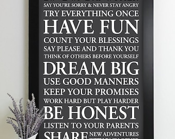 Signs with Family Rules Sign Subway Art Print House Rules Sign Family Rule Art Poster Playroom Rules Typography