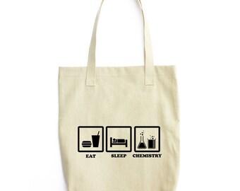 Eat Sleep Chemistry tote bag
