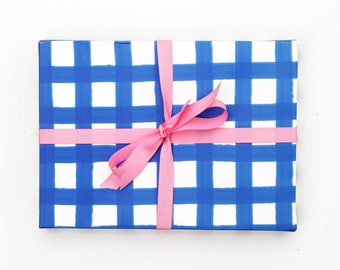 Blue Gingham Wrapping Paper Blue and White Gift Wrap Birthday Wrapping Paper Rolls Wedding Gift Wrap Sheets Plaid Wrapping Paper Sheets