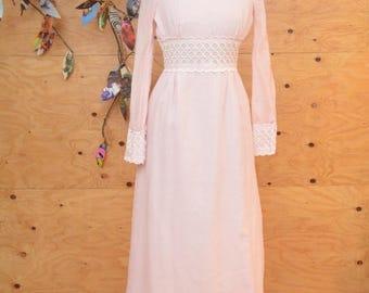 Vintage 70's Dress Light Pink Prairie Empire Maxi Dress With White Lace Detail SZ S