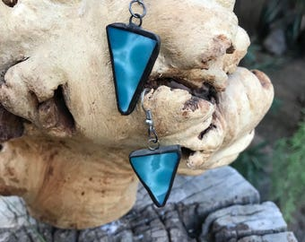 Triangle glass earrings, geometric jewelry, stained glass earrings, glass jewelry, glass earrings, minimalistic jewellery, minimalist earrin