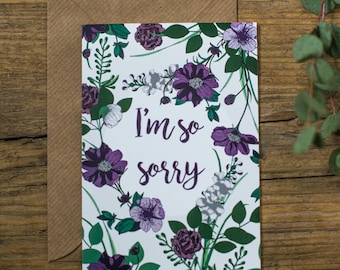 Botanical Floral I'm so sorry Sympathy Greetings Card