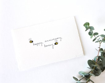 Cute Anniversary Card - Simple Honey Bees - Happy Anniversary, Honey