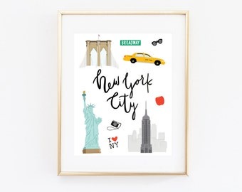 New York City Art Print, Illustrated NYC Decor, NYC Gift, Wall Art