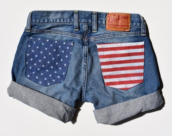 """Lucky Brand """"Stars and Stripes"""" Jean Shorts"""