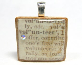Volunteer - vintage dictionary Scrabble tile with Swarovski crystal - volunteer appreciation recognition thank you gift