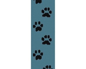 Paw Prints Peyote Bead Pattern, Bracelet Cuff, Bookmark, Seed Beading Pattern Miyuki Delica Size 11 Beads - PDF Instant Download