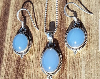 Jewelry set 925 solid sterling silver necklace with earrings chalcedony