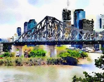 Watercolor Print - Story Bridge looking south - Brisbane  Cityscape