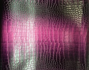 "Lilac Purple Two Tone Embossed Crocodile Vinyl Fabric - Sold By The Yard - 54"" / 55"""