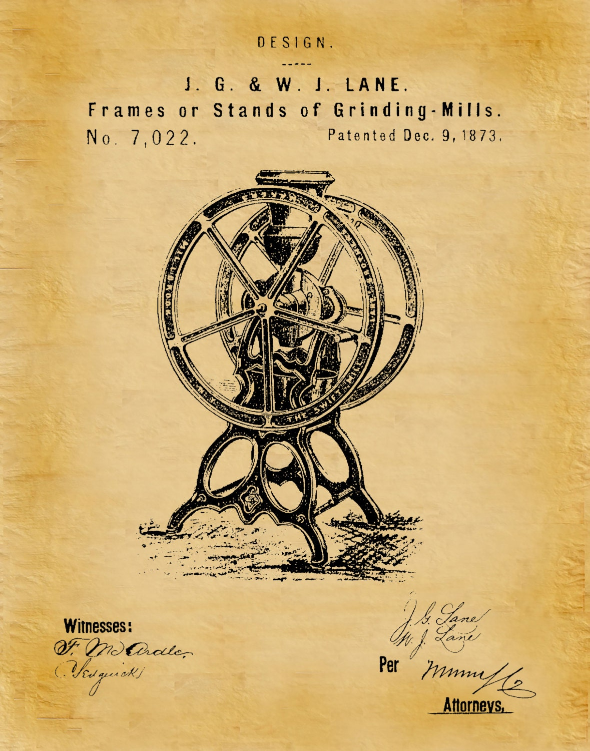 Patent 1873 Coffee Mill Frame Coffee Grinder for Enterprise and ...