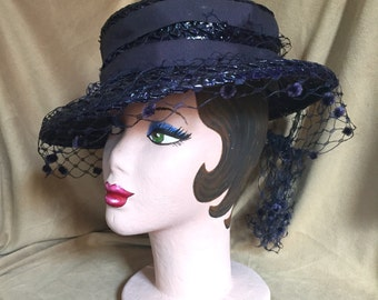 Vintage 40's Hat, Vintage 40's Navy Blue Hat, Woven Straw Hat, Blue Summer Tilt Hat with Veil, Boater Hat, OSFM,