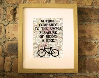 Nothing Compares To The Simple Pleasure Of Riding A Bike - Cycling Print - Hand-Pulled Silkscreen Screenprint.