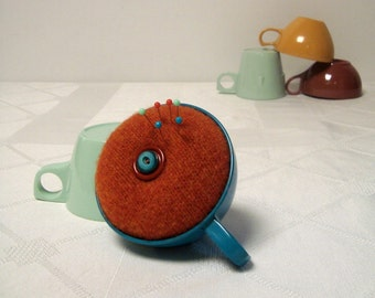 Pincushion Teal Rust in Vintage Teacup Melmac for Stitcher Mom