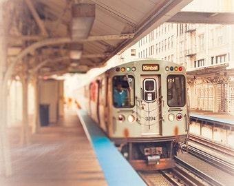 Chicago Photography, Kimball brown line train art, wall art print Loop train, art for walls, teal blue, brown, orange, urban home wall decor