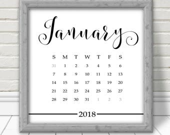 CLEARANCE! Calendar, 2018 printed desk calendar, black and white square, 5x5, elegant and simple