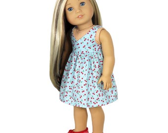 Fits Like American Girl Doll Clothes .  Blue Cherry-Print Dress.
