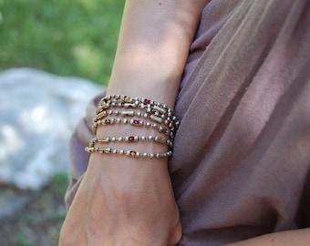 Sunset Siren, Women's Sterling Silver Chain, Swarovski Crystal, Necklace or Ankle Wrap, Womens Cuff Bracelet, Women's Wrap Bracelet