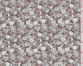 Taupe Floral Double Georgette, Fabric By The Yard