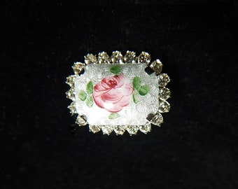 Guilloche Rose 1940's Brooch Hollywood Regency Guilloche Rose Pin  Vintage Brooch Jewelry  Enamel Brooch with Rhinestone Setting