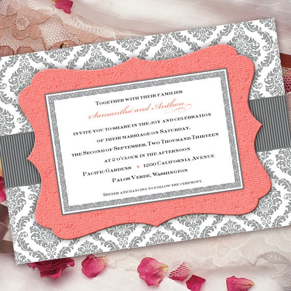 wedding invitations, wedding invitations and rsvp, coral wedding invitations, coral bridal shower invitations, wedding package, IN206