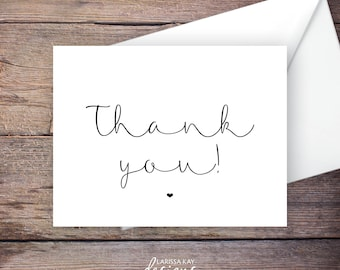 Printable Black and White Thank You Card, Thanks, Greeting Card, Instant Download Greeting Card, Wedding Card Instant Download – Brynley