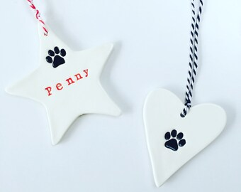 Personalised Pet Ornaments, ceramic ornament, dog's name, cat's name, pet accessories, cat lovers, MADE TO ORDER, Made in Australia
