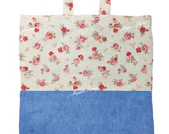 Bag shopper Jeans Rose flowers Shopping Country cotton washable Ecological sustainable reusable ECO shopper Canvas Tote Bag Floral
