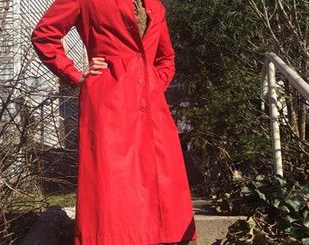 Vintage Long Red Raincoat Jacket