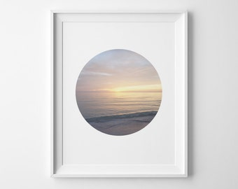 Modern Minimalist Landscape Art, Soft Beach Sunset Circle Poster, Minimal Beach Decor, Surf Art, Sunset Photography, Pastel Sunset Sky Print