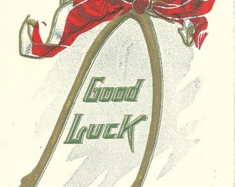 Antique Good Luck Wishbone Postcard