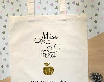 Personalised thank you gift for teacher, custom teacher tote bag, perfect way to say thank you, school gift for teachers/teaching assistants