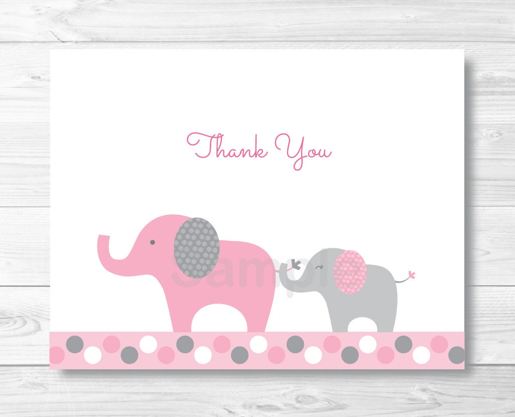 pink elephant thank you card elephant baby shower pink