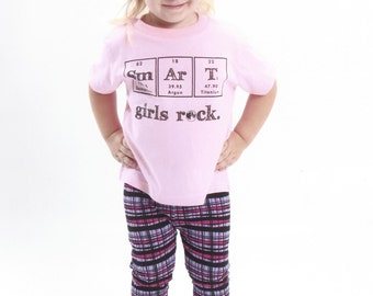 Science Periodic Table Girl TShirt - Smart Girls Rock - Toddler and Youth Pink Chemistry Gift Idea