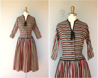 1950s Striped Party Dress | 50s  Dress | 1950s Dress | 50s Striped Day Dress | Pat Hartley Dress - (small)