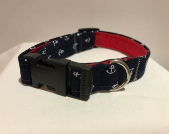 Navy Anchors Dog Collar Fully Lined XS-XL