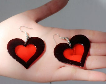 Love Heart Earrings - PVC Heart Shape Earrings with cut out detail - Silver Earring Fish Hooks available in 5 variations