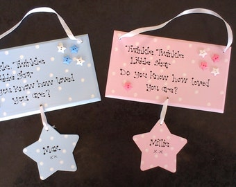 Personalised Twinkle Little Star Do You know How loved New Baby Gift Plaque
