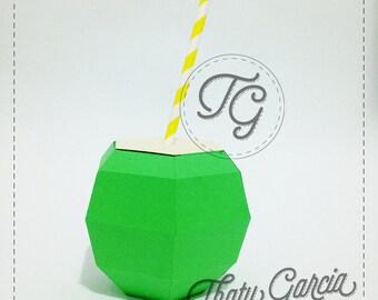 Coconut 3D Favor box | Papercraft | Digital File | Instant Download