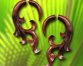 Fake Gauges, Tribal Earrings, Jans Flower, Tropical Wood Jewelry, Split, Cheaters, Handmade, Plugs - W18
