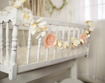 Girl's Nursery Floral Garland - White & Blush with Gold - Felt flower garland - White and Gold leaf detail