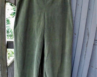 Pinwale Corduroy Pants/ Wide Leg Cord Pants/ Sage Green Handmade/ Retro Cord Slacks/ Vintage Pinwale Cord/ Shabbyfab Funwear