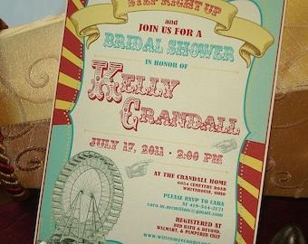 Under Big Top Bridal Shower Invitation, Vintage Carnival Wedding Shower Invitation, Vintage Circus Bridal Shower Invitation, Ferris Wheel
