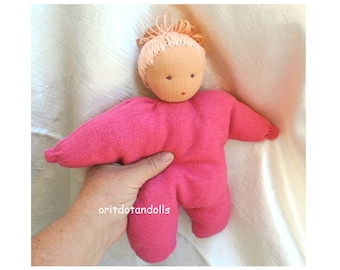 Waldorf doll, pillow doll -10inch/25cm-for children at all ages, בובת וולדורף