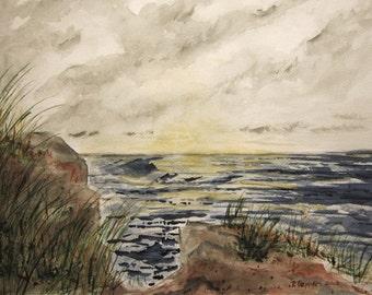 Oceanfront Print Of Seascape Watercolor Painting, watercolor print, beach art, nautical print, shoreline.