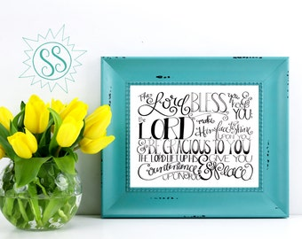 Bible Verse Wall Art / Christian Gifts for Women / The Lord Bless You and Keep You / Numbers 6:24 / Mother's Day/ Graduation Gift / THW081