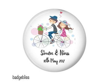 Wedding favor magnets, 20 Personalised Bicycle favor magnet keepsakes