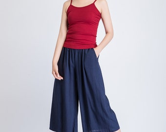 linen pants capris, navy wide leg pants, summer pants, casual loose fitting pants, pant with pockets, womens pants, elastic wait pant 1936