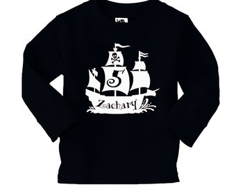 Pirate Birthday Shirt - Pirate Ship Shirt - Personalized Birthday Long Sleeve Shirt - any age and name - pick your colors!
