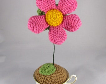 Crochet Echinacea Flower in Bone China Teacup - Pink and Gold Crochet Flower - Funky Daisy Plant - Amigurumi Flower - Boho Decor